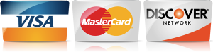We gladly accept credit cards by Visa, Mastercard and Discover